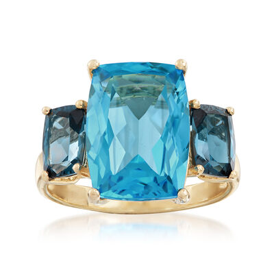 9.85 ct. t.w. Blue Topaz Ring with Diamond and Rhodium Accents in 14kt Yellow Gold, , default