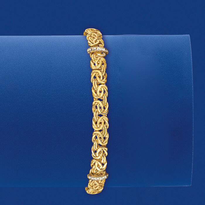 14kt Yellow Gold Byzantine Bracelet with Diamond-Accented Stations
