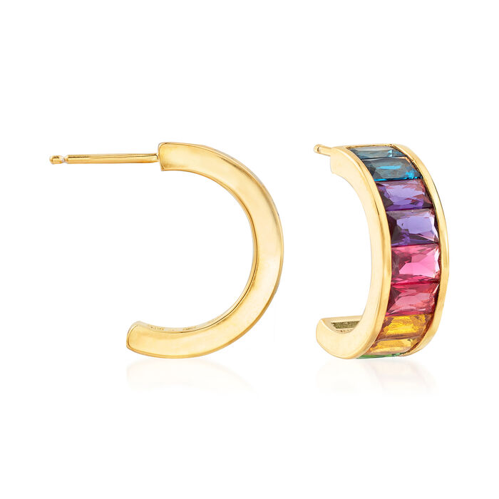 5.00 ct. t.w. Multicolored CZ Earrings in 18kt Gold Over Sterling, , default