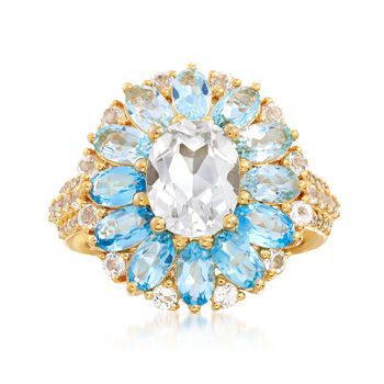 4.61 ct. t.w. Blue and White Topaz Floral Ring in 18kt Yellow Gold Over Sterling Silver, , default