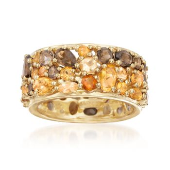 4.60 ct. t.w. Multi-Stone Eternity Band in 18kt Yellow Gold Over Sterling Silver. Size 6, , default