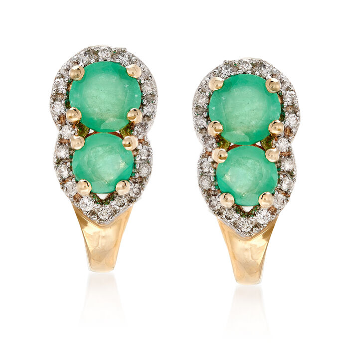 .70 ct. t.w. Emerald and .10 ct. t.w. Diamond Drop Earrings in 14kt Yellow Gold