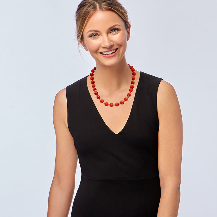 3-13mm Red and Pink Coral Bead Necklace in 14kt Yellow Gold 20-inch