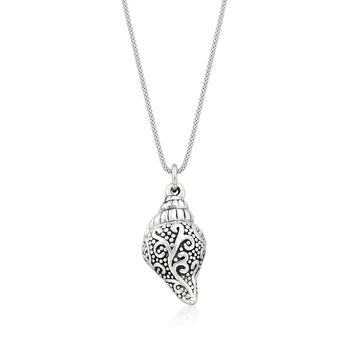 Sterling Silver Seashell Pendant Necklace. 18""
