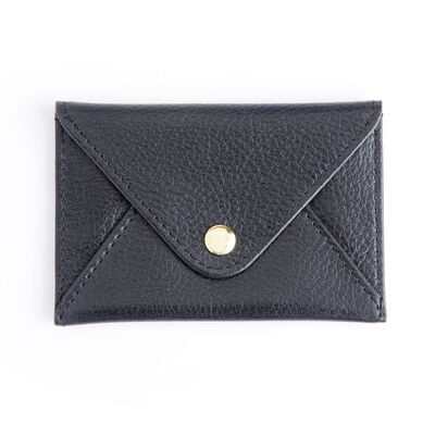 Royce Black Leather Three-Initial Envelope-Style Business Card Holder
