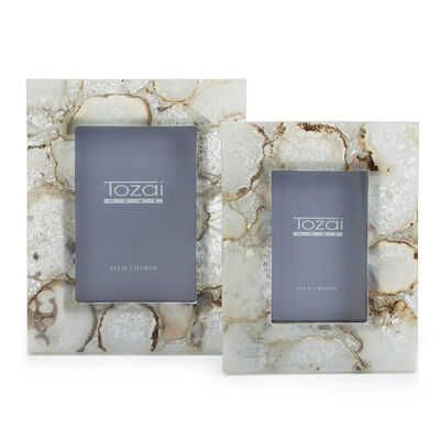 Set of Two Natural Agate Photo Frames