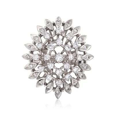 C. 1970 Vintage 1.00 ct. t.w. Diamond Cluster Cocktail Ring in 14kt White Gold, , default