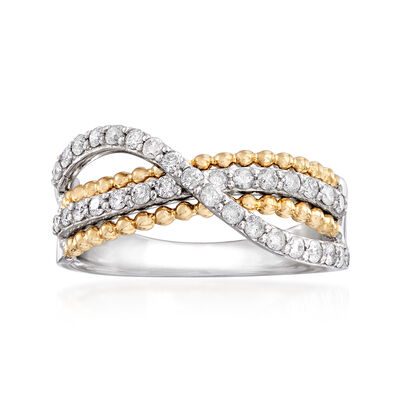 .50 ct. t.w. Diamond Crisscross Ring in Sterling Silver with 14kt Yellow Gold