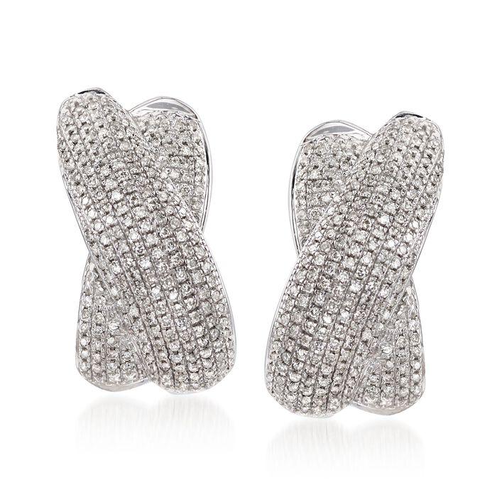 """1.00 ct. t.w. Pave Diamond Crisscross J-Hoop Earrings in Sterling Silver. 7/8"""", , default"""