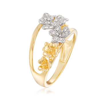.10 ct. t.w. Diamond Floral Ring in 18kt Yellow Gold Over Sterling, , default