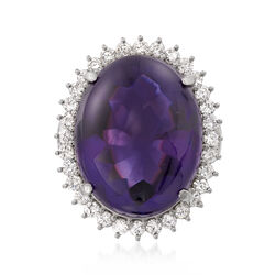 C. 1990 Vintage Oval 31.05 Carat Amethyst and 1.21 ct. t.w. Diamond Ring in Platinum, , default