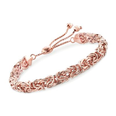 18kt Rose Gold Over Sterling Byzantine Bolo Bracelet, , default