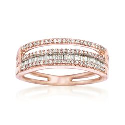 .36 ct. t.w. Baguette and Round Diamond Four-Row Ring in 14kt Rose Gold, , default
