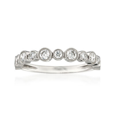 Henri Daussi .55 ct. t.w. Diamond Wedding Ring in 14kt White Gold, , default