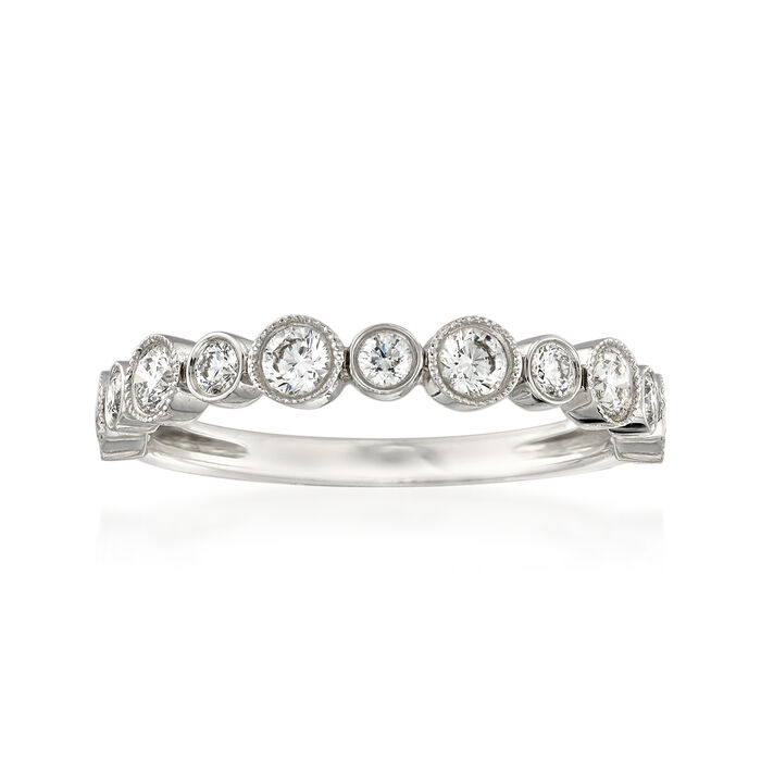 Henri Daussi .55 ct. t.w. Diamond Wedding Ring in 14kt White Gold
