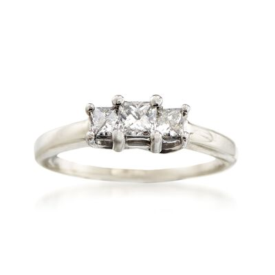 C. 1990 Vintage .50 ct. t.w. Princess-Cut Diamond Engagement Ring in 14kt White Gold, , default