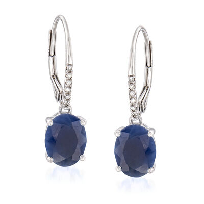 4.80 ct. t.w. Indian Sapphire Drop Earrings with Diamond Accents in 14kt White Gold, , default