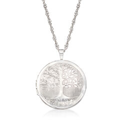 Sterling Silver Tree of Life Locket Necklace, , default