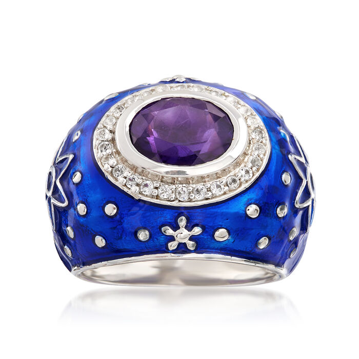 Blue Enamel Star Ring with 2.00 Carat Amethyst and .30 ct. t.w. White Topaz in Sterling Silver. Size 6, , default