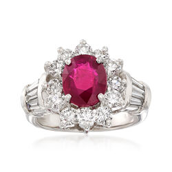 2.70 Carat Ruby and 1.76 ct. t.w. Diamond Ring in 18kt White Gold, , default