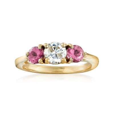 C. 1990 Vintage 3.5mm Tourmaline and .50 Carat Diamond Ring in 14kt Yellow Gold, , default
