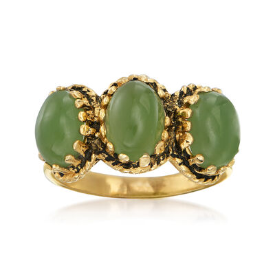C. 1970 Vintage Jade Three-Stone Ring in 14kt Yellow Gold, , default