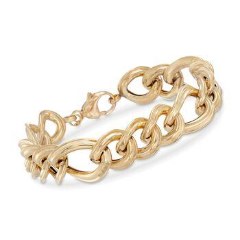 "Italian 18kt Yellow Gold Wide Curb-Link Bracelet. 7"", , default"