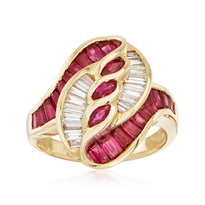 C. 1990 Vintage 2.38 ct. t.w. Ruby and .49 ct. t.w. Diamond Swirl Ring in 18kt Yellow Gold