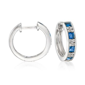 """Gregg Ruth 1.00 ct. t.w. Sapphire and .24 ct. t.w. Diamond Hoop Earrings in 18kt White Gold. 1/2"""", , default"""