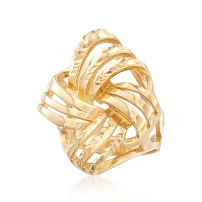 Italian 18kt Gold Over Sterling Diamond-Cut and Polished Knot Ring, , default