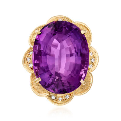 C. 1960 Vintage 41.05 Carat Amethyst and .17 ct. t.w. Diamond Cocktail Ring in 18kt Yellow Gold
