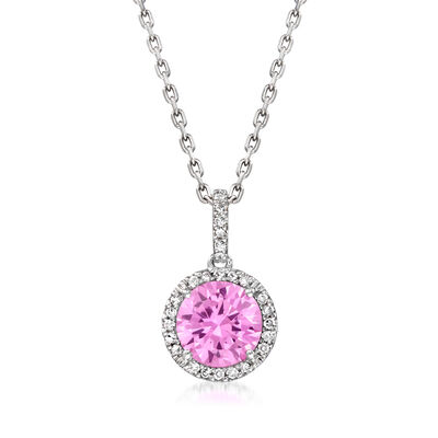 1.70 Carat Simulated Pink Topaz Pendant Necklace with Diamond Accents in Sterling Silver
