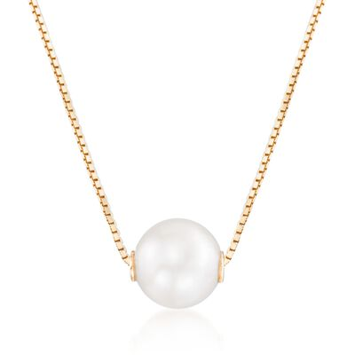7-7.5mm Cultured Pearl Pendant Necklace in 14kt Yellow Gold, , default