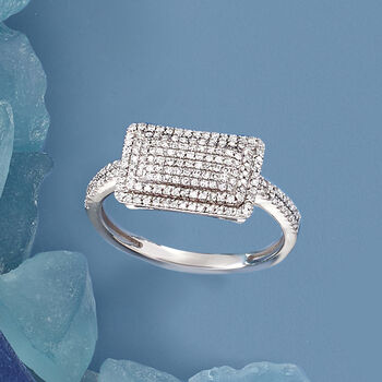 .25 ct. t.w. Pave Diamond Rectangle Ring in 14kt White Gold