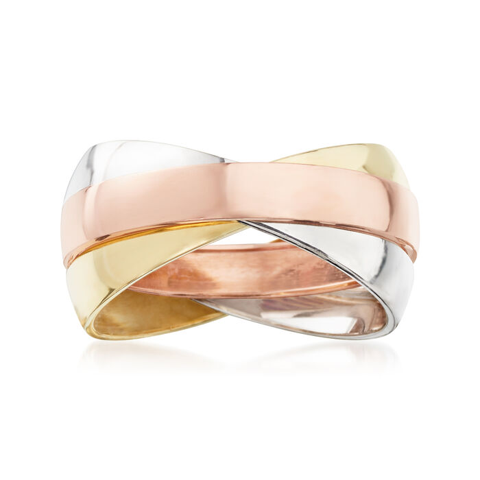 14kt Tri-Colored Gold Rolling Ring, , default