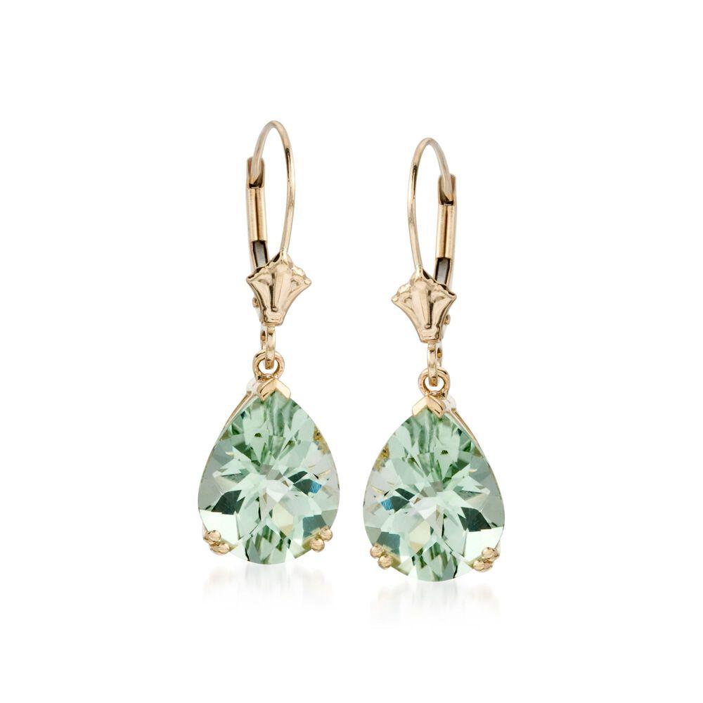 T W Green Prasiolite Earrings In 14kt Yellow Gold Default