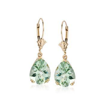 5.50 ct. t.w. Green Amethyst Earrings in 14kt Yellow Gold, , default
