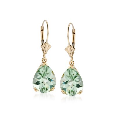5.50 ct. t.w. Green Prasiolite Earrings in 14kt Yellow Gold, , default