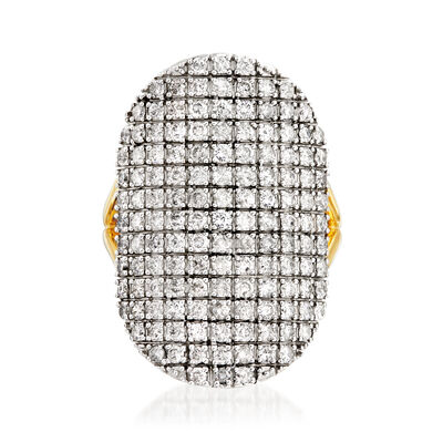 2.00 ct. t.w. Pave Diamond Oval Ring in Two-Tone Sterling Silver, , default