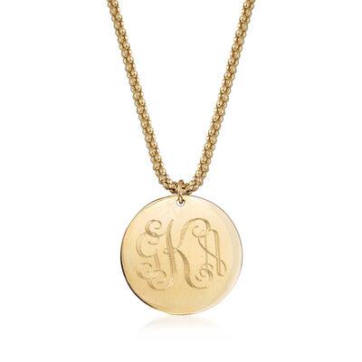 14kt Yellow Gold Engravable Disc Charm Necklace, , default