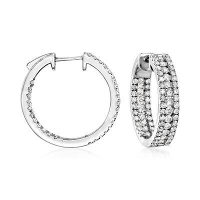 2.00 ct. t.w. Diamond Inside-Outside Hoop Earrings in Sterling Silver