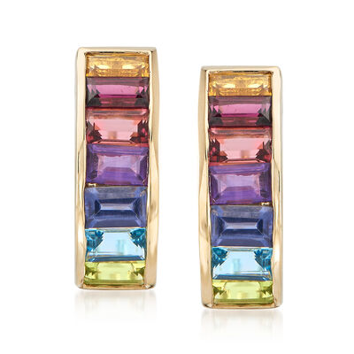 2.92 ct. t.w. Multi-Gemstone Drop Earrings in 14kt Yellow Gold, , default