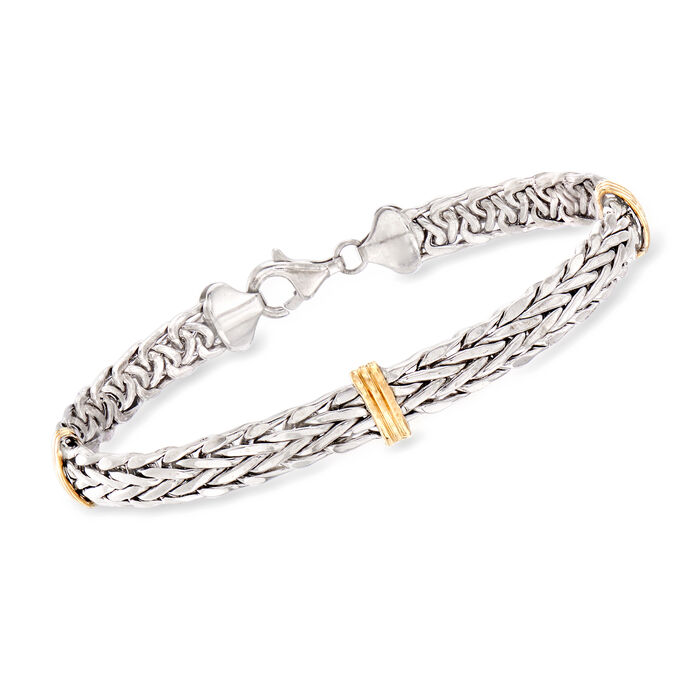 Sterling Silver and 14kt Yellow Gold Wheat Bracelet, , default
