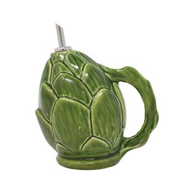 """Vietri """"Artichoke"""" Green Figural Olive Oil Cruet from Italy"""