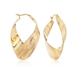 "18kt Gold Over Sterling Silver Diamond-Cut Twisted Hoop Earrings. 1 5/8"", , default"