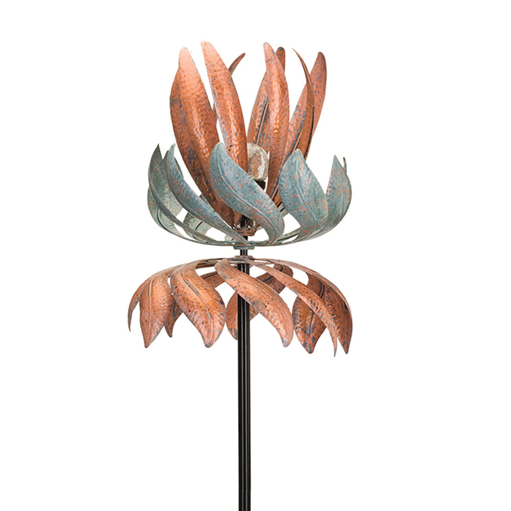 Regal Flying Lotus Outdoor Decorative Solar Garden Wind Spinner Default