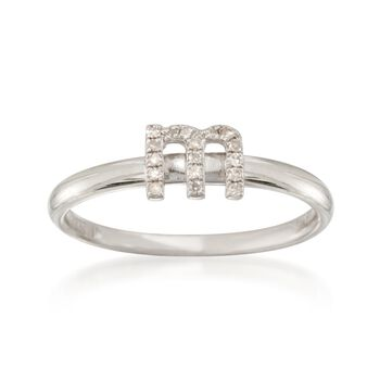 "Diamond Accent Mini Initial ""M"" Ring in Sterling Silver, , default"
