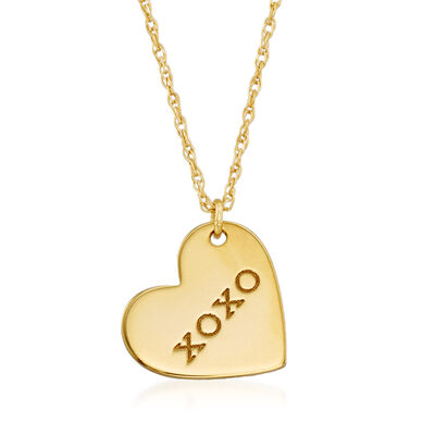 "14kt Yellow Gold ""XOxo"" Heart Pendant Necklace"
