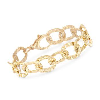 Italian 18kt Yellow Gold Over Sterling Silver Hammered Link Bracelet, , default