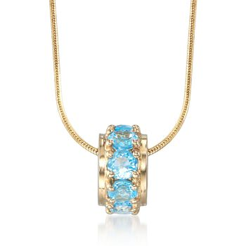 .90 ct. t.w. Blue Topaz Rondelle Bead Pendant in 14kt Yellow Gold, , default